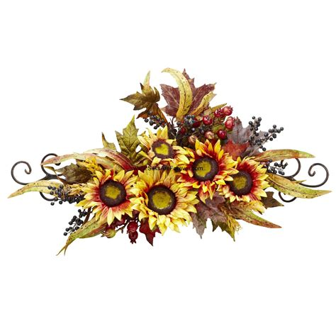 27 quot wide silk sunflower flower swag w metal frame yellow