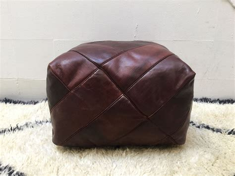 Genuine Leather Moroccan Pouf Ottoman Whiskey Brown Leather Pouf Ottoman