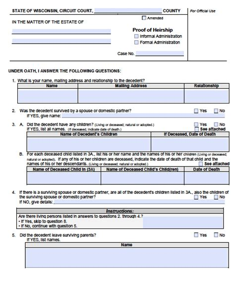 free wisconsin small estate affidavit form pdf word