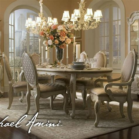 michael amini lavelle seven oval table chairs set