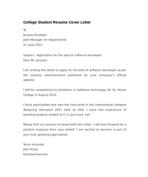 Student Cover Letter And Resume Resume Cover Letter Exle 8 Documents In Pdf Word