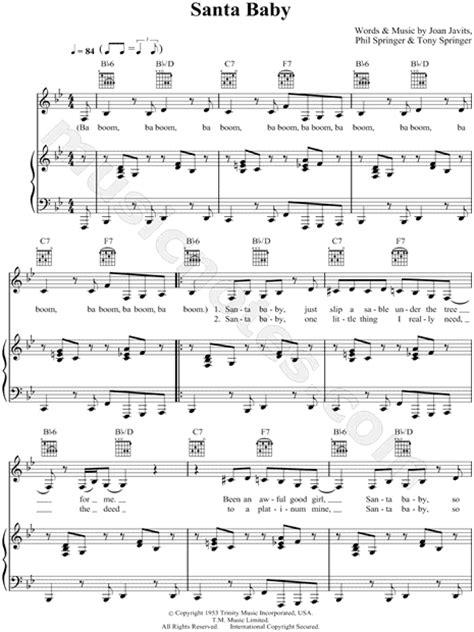 Baby Musician Trumpet eartha kitt quot santa baby quot sheet in bb major
