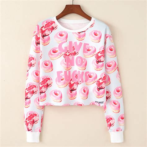 Donut Print Crop Top 10021 2017 harajuku kawaii sweatshirt kpop clothes cropped