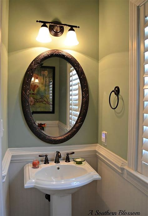half bath makeover using beadboard wallpaper and behr