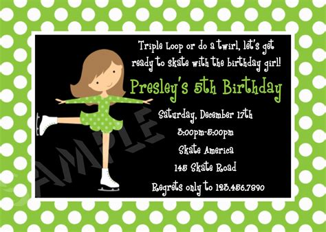 birthday invitation templates ice skating birthday