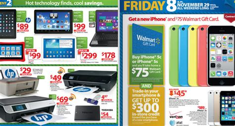 Walmart Gift Card Sale - walmart s black friday sale 100 gift card with ipad mini purchase 75 with iphone