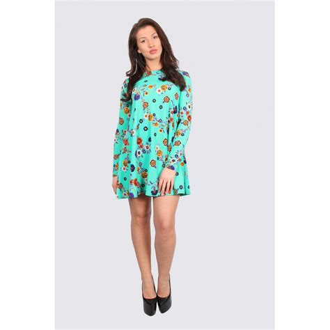 long sleeve swing dress uk una green floral long sleeve swing dress parisia fashion