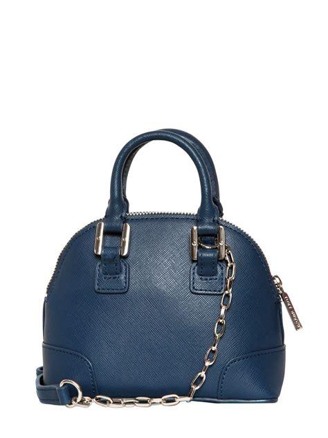 burch leather bag burch mini robinson saffiano leather bag in blue navy blue lyst