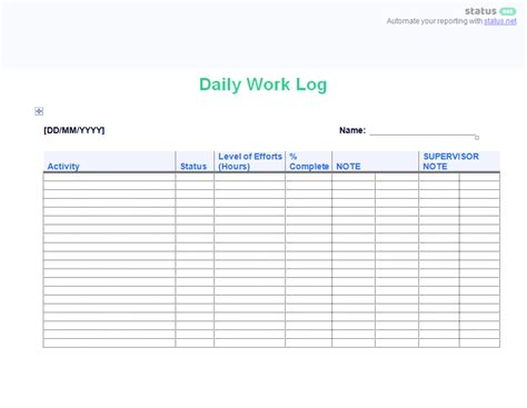 2 Easy To Use Daily Work Log Templates Free Download Weekly Work Log Template