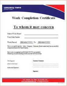 work completion certificate template work completion certificate templates for ms word word
