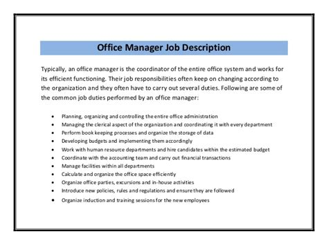 office manager description template office assistant description sle recentresumes