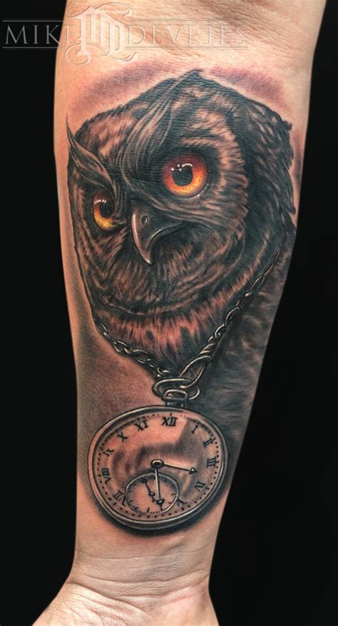 tattoo owl and clock mike devries tattoos black and gray owl and clock tattoo