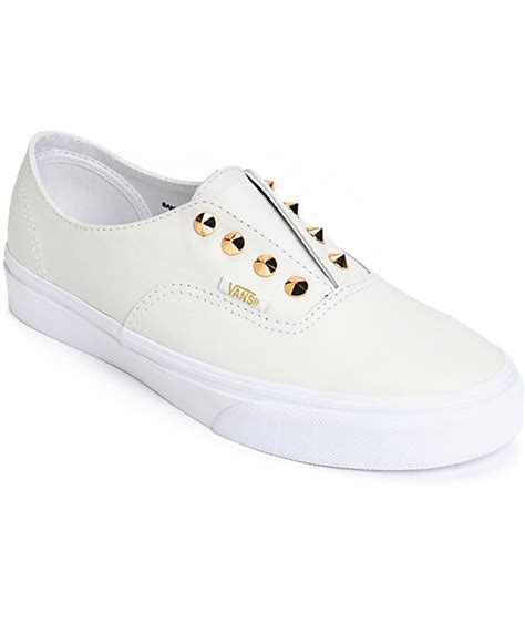 vans authentic stud white leather slip on shoes