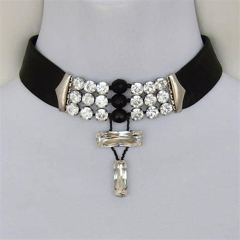 beaded choker necklace designs black leather choker swarovski rhinestones