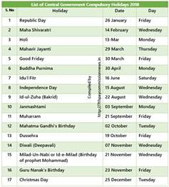 Calendar 2018 With Holidays Tamilnadu List Of Central Government Restricted Holidays 2018