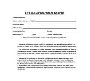 Musicians Contract Template by Sle Contract Template 12 Free Documents In Pdf