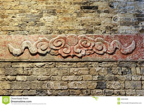 tile pattern ancient temple kotor ancient stone carved with cloud pattern stock photo