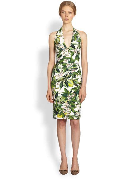 Dolce By Dolcegabbana For lyst dolce gabbana floral halter dress in green