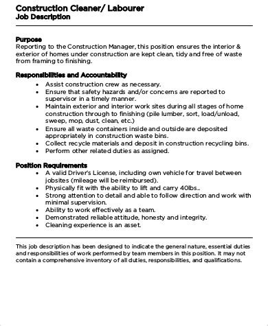 construction laborer job description sle 8 exles