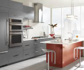 gray cabinets with red kitchen island omega cabinetry home shop islands fiesta