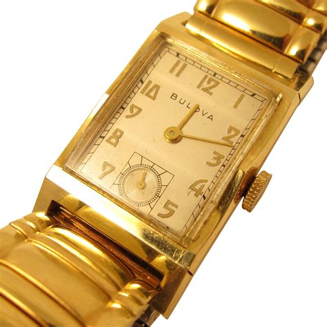 vintage mens wrist by bulova solid 14k yellow gold