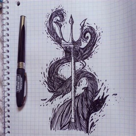 aquaman tattoo trident and wave drawing drawings