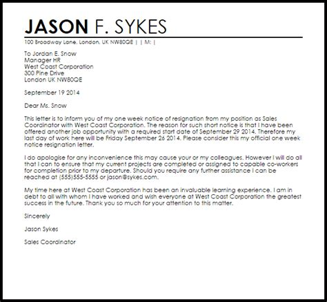 One Week Notice Resignation Letter   Resignation Letters