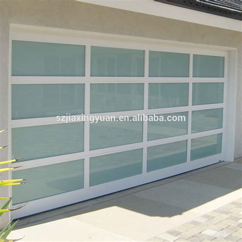 modern aluminum frame view glass panel garage door
