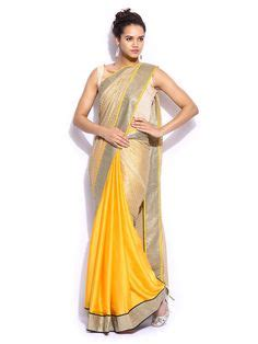 Lois Dobby Yellow Blouse Yellow white saree saree and blouses on