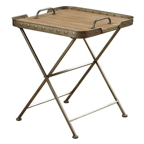 wood top folding table removable wood top folding side table