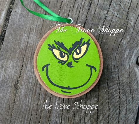 painted wood ornaments grinch wood slice ornament painted by marais0handmade