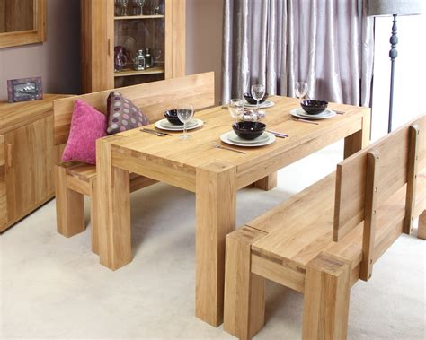 Dining Room Bench Table Set Palma Solid Chunky Oak Dining Room Furniture Dining Table