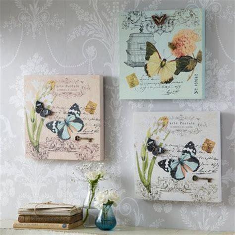 Decoupage Canvas Ideas - 3d carte postale butterfly plaques set of 3 decoupage