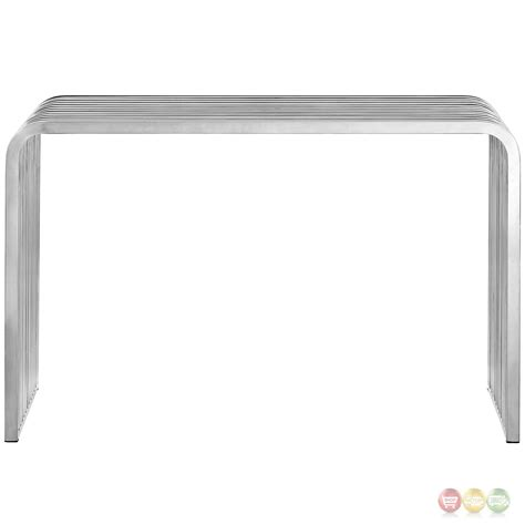 stainless steel sofa table pipe modern curved edge slatted sofa table in stainless