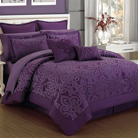 deep purple bedding plum curtis damask modern quot king size quot 12 piece comforter