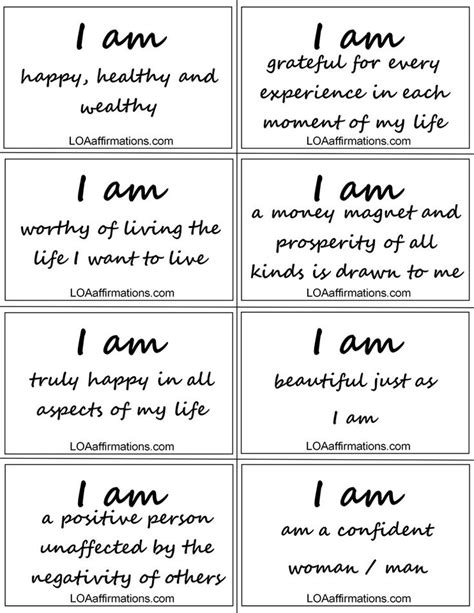 Affirmation Card Templates by Of Attraction Daily Affirmations Personal Growth