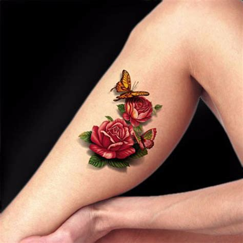 red rose 3d temporary tattoo body art flash tattoo