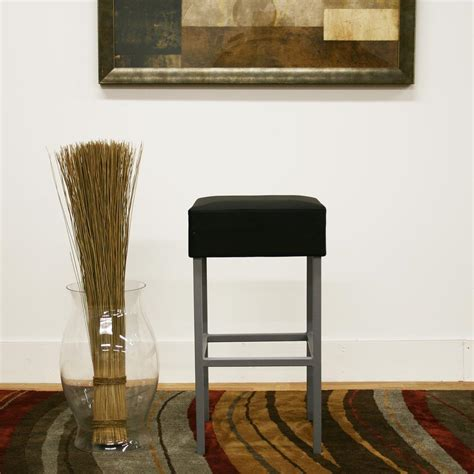 Black Faux Leather Counter Stools by Baxton Studio Andante Black Faux Leather Upholstered