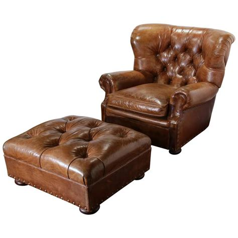 leather armchair with footstool large vintage ralph lauren brown leather armchair with