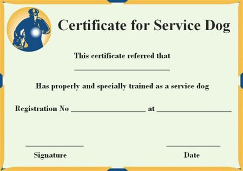 Service Dog Certificate Template 10 Word Templates For Trained Dogs Demplates Service Animal Certificate Template