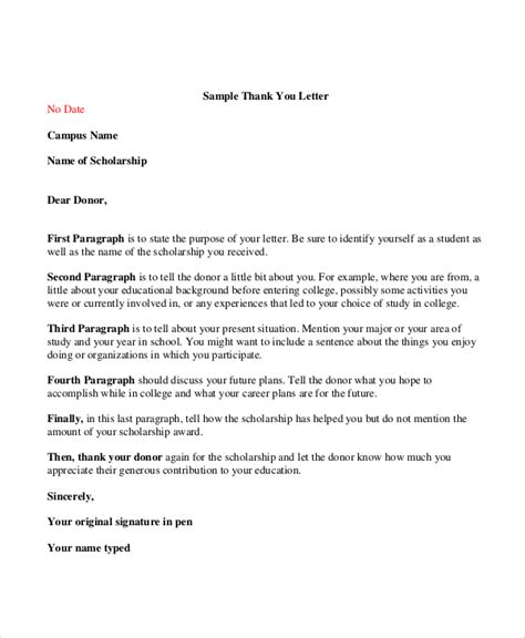 Thank You Letter To Donors Sle Thank You Letter For Scholarship 7 Exles In Word Pdf