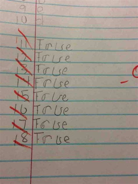 Question Like Or True Or False Quiz Answers Imgur Paper Picture Shows Answers Given By Student But
