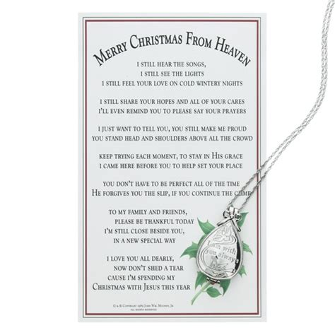 printable christmas in heaven poem merry christmas from heaven keepsake locket w memory box