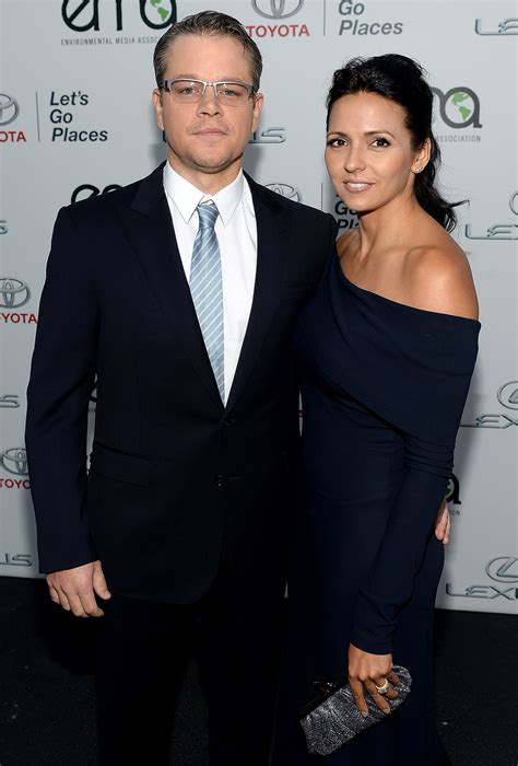 matt and luciana damon matt and luciana damon posed together at the event matt