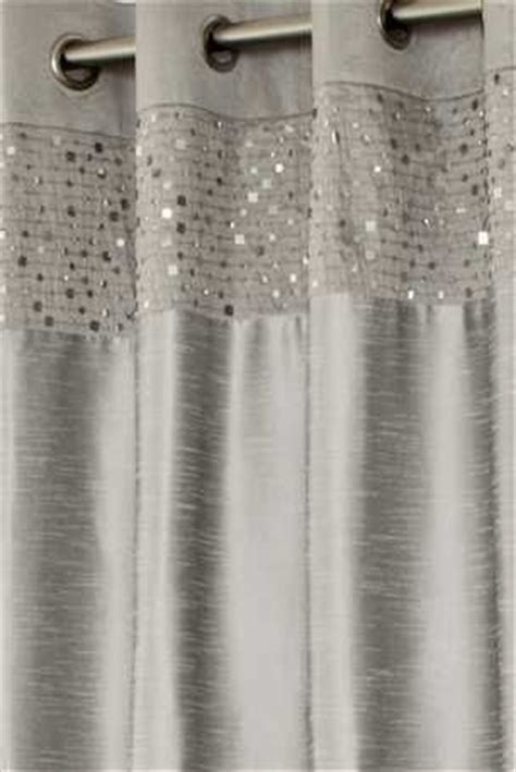 Buy Silver Sequin Banded Eyelet Curtains Dinner Party