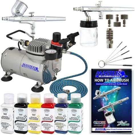 Global Paint Kit Kit 2 airbrush system kit w 6 primary testors aztek paint
