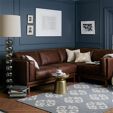 dekalb leather  piece sectional west elm