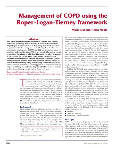 roper logan and tierney care plan template management of copd using the pdf available