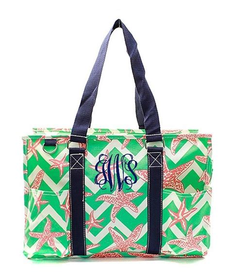 personalized monogram  zip top organizing utility tote