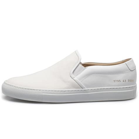 Common Projects Slip On common projects white slip on canvas leather sneakers in white for lyst